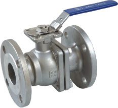2pc flanged ball valve with direct mounting pad (JIS)